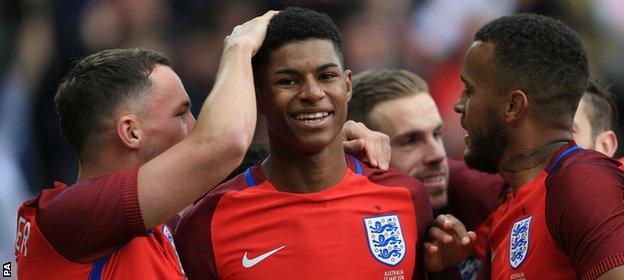 Marcus Rashford scored on his England debut against Australia