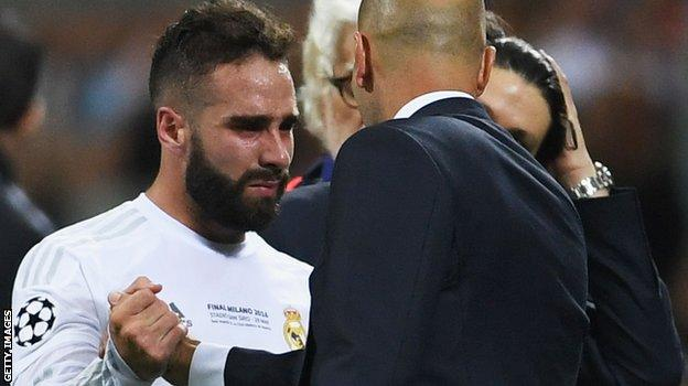 Real Madrid defender Dani Carvajal in tears