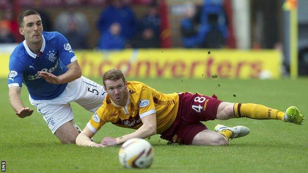 Rangers' Lee Wallace and Motherwell's Stephen Pearson
