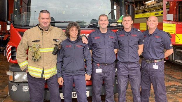 Rafiuke Taylor with her fellow Barry fire-fighters