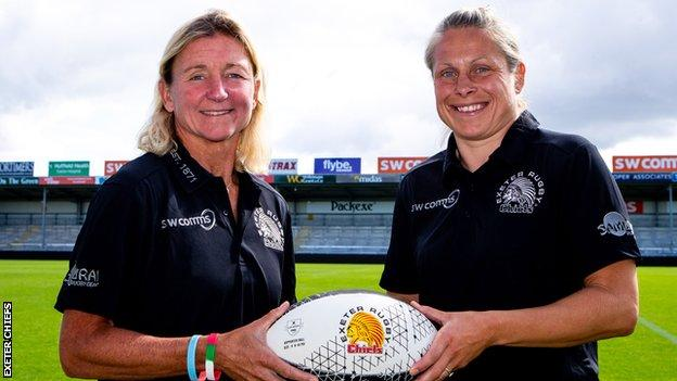 Exeter's coaching team of Susie Appleby (left) and Amy Garnett