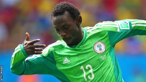 Juwon Oshaniwa in action for Nigeria