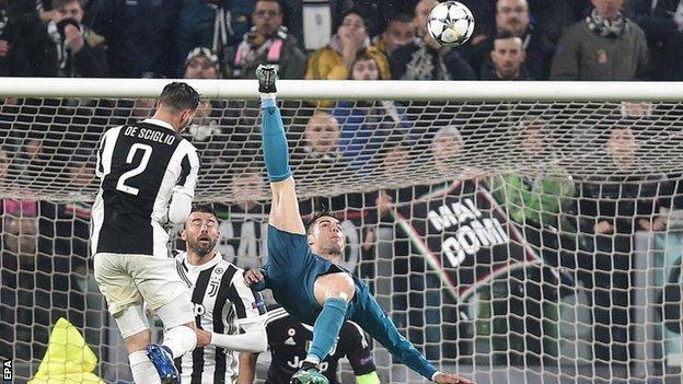 Cristiano Ronaldo scores for Real Madrid against Juventus
