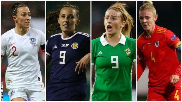 Lucy Bronze (England), Caroline Weir (Scotland), Rachel Furness (Northern Ireland), Sophie Ingle (Wales)