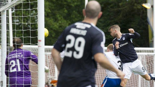 Rory Loy scores for Dundee against Kilmarnock