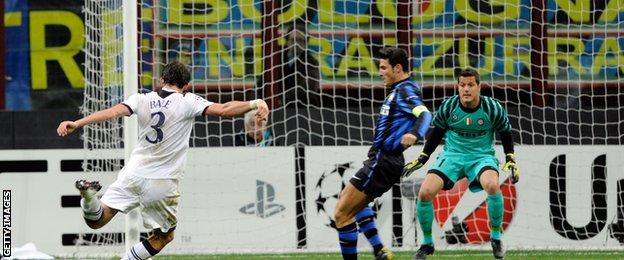 Gareth Bale scores for Spurs at San Siro