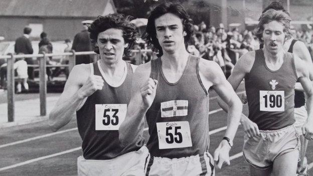 Paul Lawther leads Jim McGuinness during a race at the Shorts Track in Belfast during the early 1970s