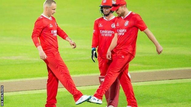 Lancashire leggie Matt Parkinson had cause to perform his foot-tapping celebration three times at Headingley