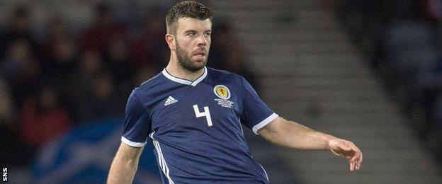 Grant Hanley plays a pass for Scotland against Costa Rica