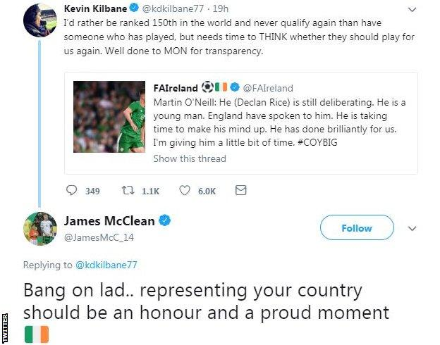 McClean responded to a tweet by former Ireland team-mate Kevin Kilbane