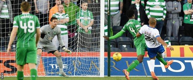 Josh Magennis scores for Kilmarnock against Celtic