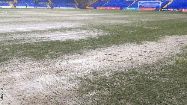 The pitch at Prenton Park