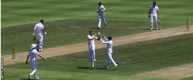 Morne Morkel (centre) celebrates taking Alex Hales' wicket