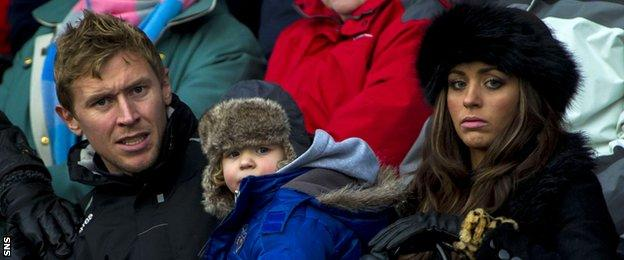 Richie Foran and his family in the Caledonian Stadium stand