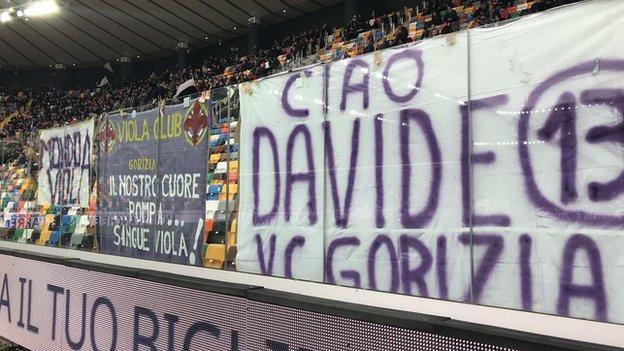 Banner honouring Davide Astori