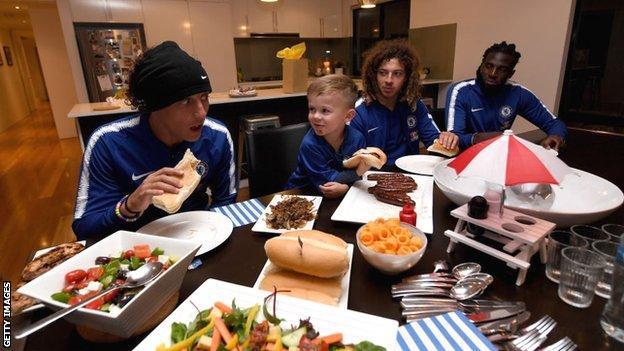 David Luiz at Chelsea fan's home