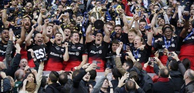 Saracens celebrate winning the European Rugby Champions Cup