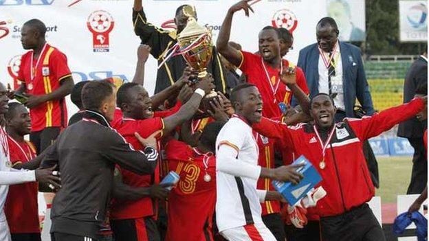 Uganda celebrate winning the 2015 Cecafa Senior Challenge Cup