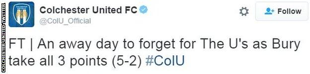 Colchester United twitter