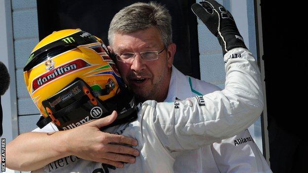 Ross Brawn with Lewis Hamilton
