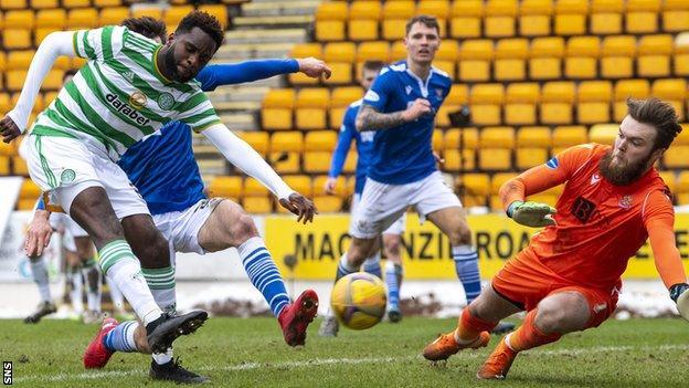 Odsonne Edouard scores Celtic's second goal against St Johnstone