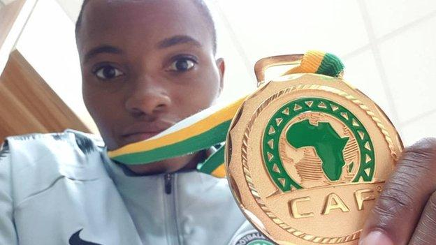 Nigeria's Rasheedat Ajibade with her Women's Africa Cup of Nations medal