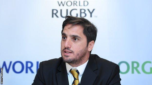 World Rugby vice-chairman Agustin Pichot speaks at a news conference