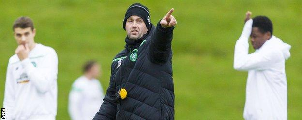 Celtic manager Ronny Deila during training