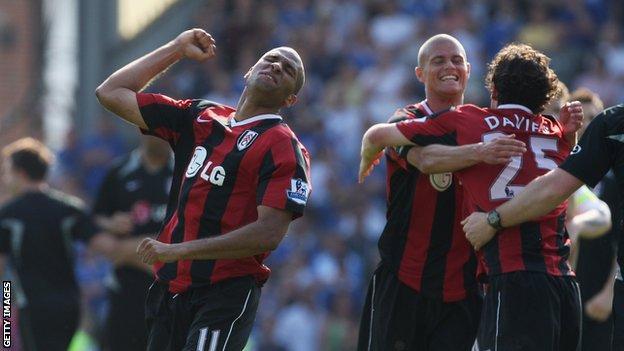 Fulham celebrate avoiding Premier League relegation in 2008