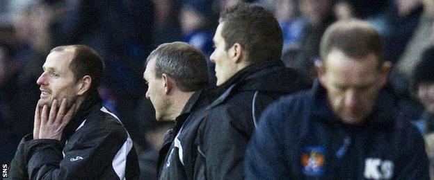 Allan Johnston (left) in the Kilmarnock dugout