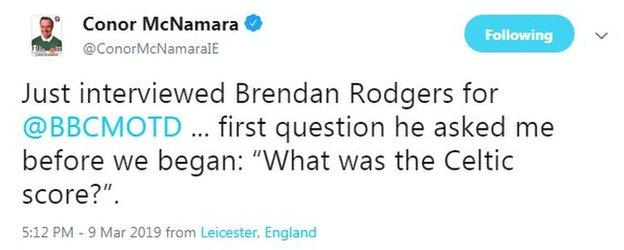 Match of the Day commentator Conor McNamara was at the Leicester game today...