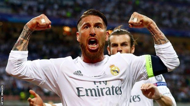 Sergio Ramos celebrates scoring against Atletico Madrid in the 2016 Champions League final