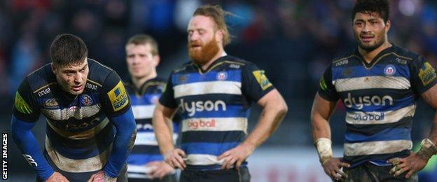 Bath players despondent at the final whistle