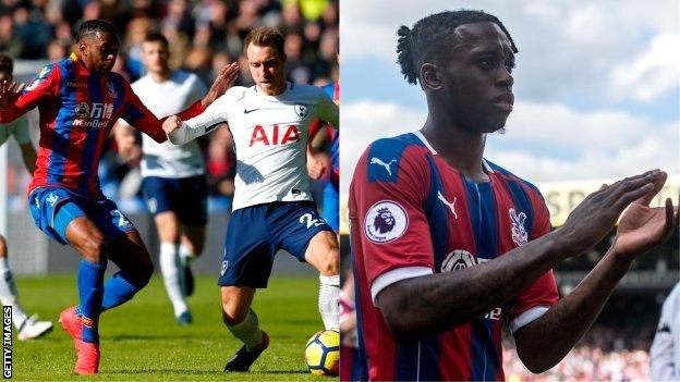 Split image of Aaron Wan-Bissaka in his first and last games for the Crystal Palace senior team