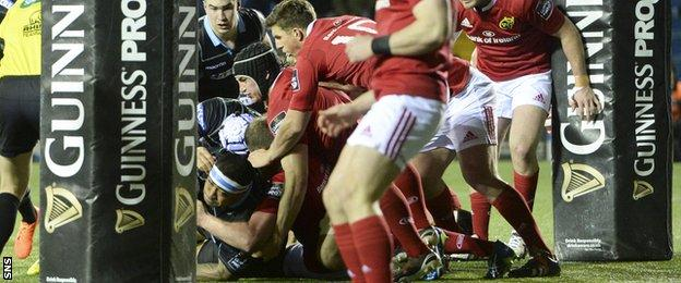 Munster are unable to stop the raw power of prop Sila Puafisi as he scores a try at Rugby Park