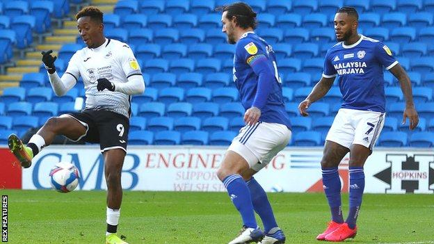 Jamal Lowe volleys home his first goal in 11 matches
