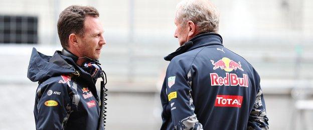 Red Bull Racing Team Principal Christian Horner talks with Red Bull Racing Team Consultant Dr Helmut Marko