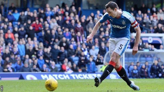 Lee Wallace scores for Rangers against Dundee