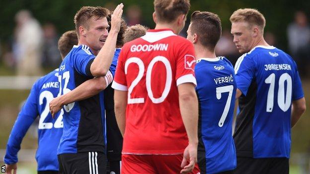 FC Copenhagen celebrate a goal at Latham Park