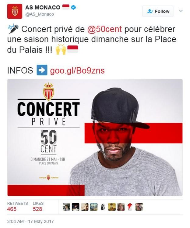 50 Cent to perform at Monaco's victory parade