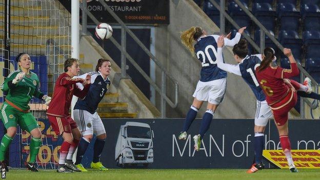 Spain's Virginia Torrecilla scores against Scotland