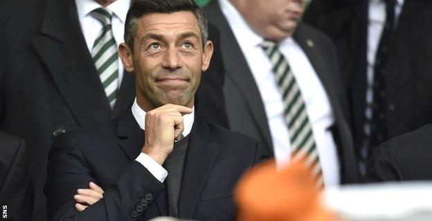 Rangers manager Pedro Caixinha watched the last Old Firm match from the Celtic Park main stand