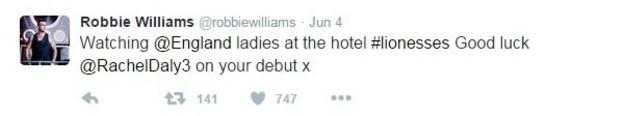 Robbie Williams' Twitter page