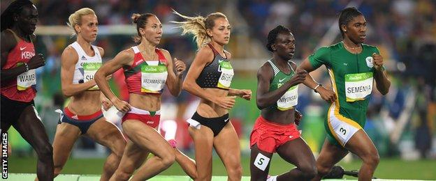Kenya's Margaret Nyairera Wambui, Britain's Lynsey Sharp, Belarus' Maryna Arzamasava, Canada's Melissa Bishop, Burundi's Francine Niyonsaba, and South Africa's Caster Semenya compete in the Women's 800m Final during the athletics event at the Rio 2016 Olympic Games