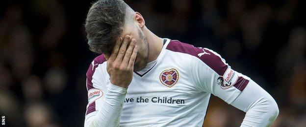 Callum Paterson looks dejected after Hearts' defeat at Motherwell