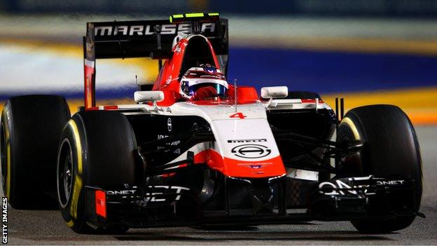 Max Chilton driving for Marussia at the 2014 Singapore Grand Prix