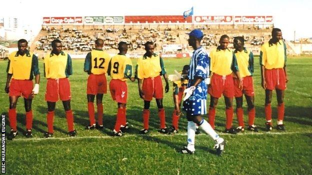 Eric Murangwa Eugene before a game with Rwanda