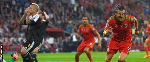 Gareth Bale scores against Belgium