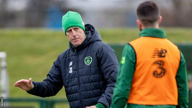 Republic manager Mick McCarthy takes training on Monday