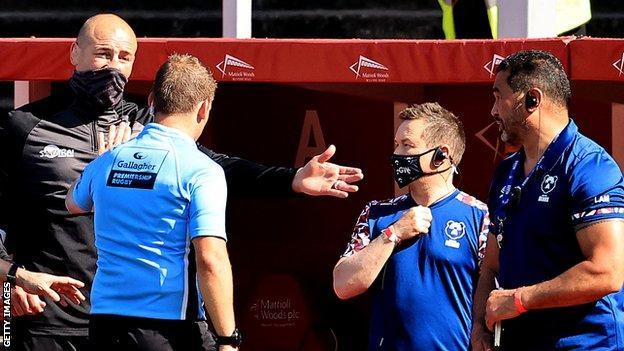 Steve Borthwick, referee Ian Tempest and Pat Lam